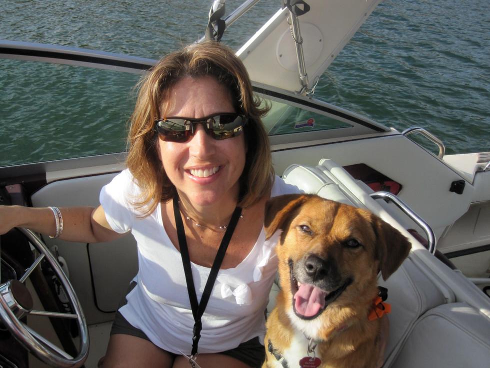 On a friend's boat... Co-captain Sandy!