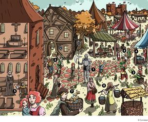 Wimmelbild Mittelaltermarkt