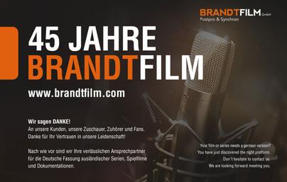 Brandtfilm Anzeige A5 für das Blickpunkt Magazin