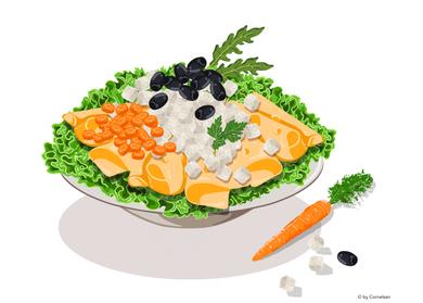 Salat mit Käse, Möhren und Oliven