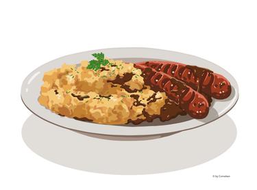 Bratwurst mit Kartoffelpüree und brauner Soße