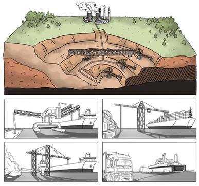 Tagebau und Güterumschläge