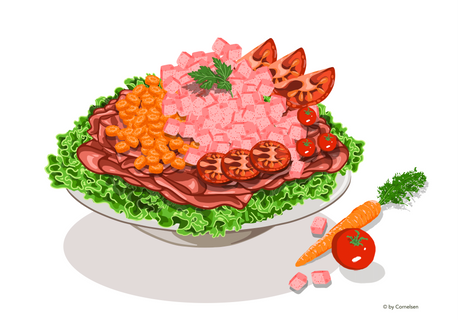 Wurstsalat mit Möhrenstückchen und Tomaten