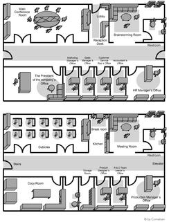 Grundriss 3D Büroraum