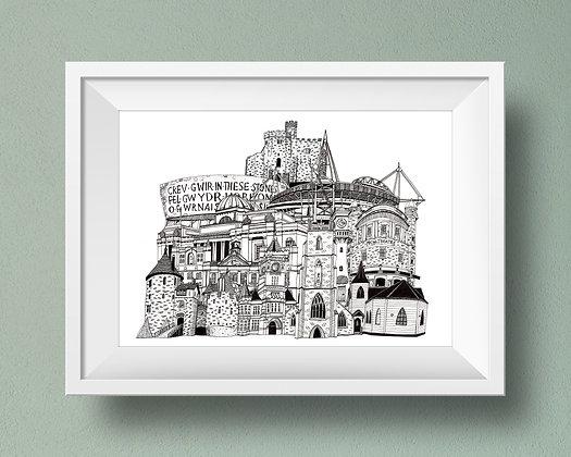 Buildings of Cardiff Print