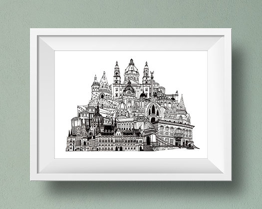Buildings of Budapest Print