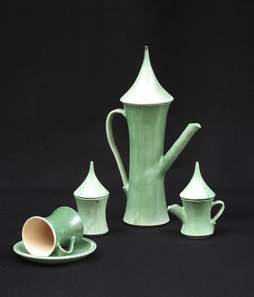 elongated green tea set