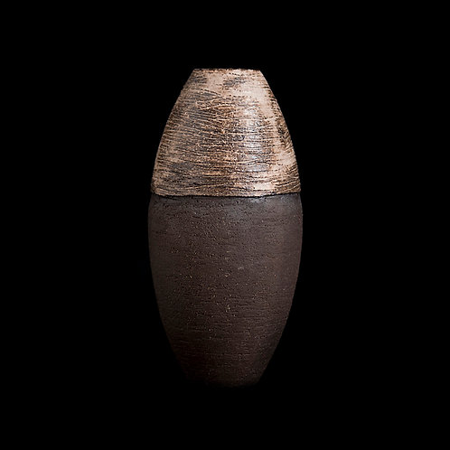 textured ecru and brown oval small