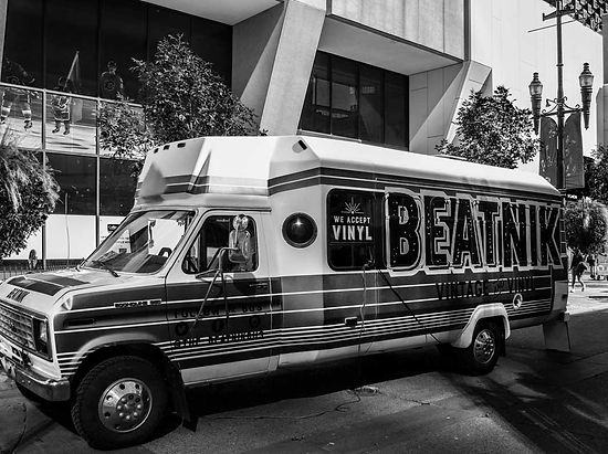 The Beatnik Bus parked on Stephen Avenue