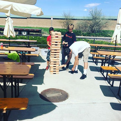 Jenga is now on the patio!!! Cinco de dr