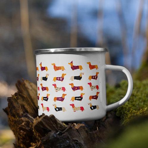 halloween wiener dogs - Enamel Mug