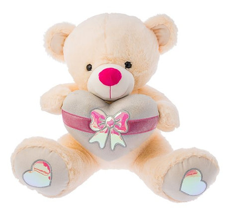 Dimpy Stuff Sparkle Bear with Heart White
