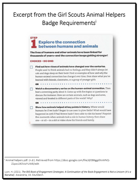 Exerpt from the Girl Scouts Animal Helpers Badge Requirements