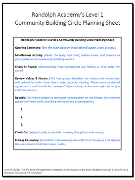 Randolph Academy's Level 1 Community Building Circle Planning Sheet