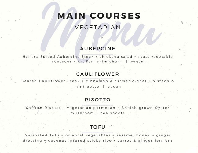 Vegetarian Main Meals - Fairytale Menu