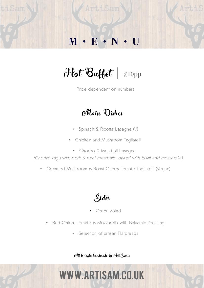 Delivered Hot Buffet Menu - 2018