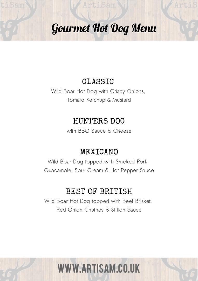 Gourmet Hot Dog Menu