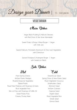 Design your Dinner - Vegetarian Menu