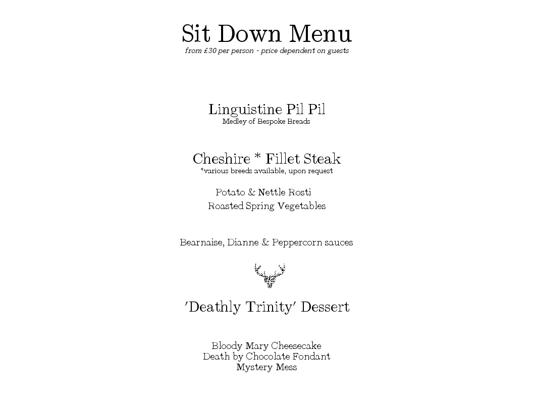 Sit Down Menu - Grilled Fillet Steak