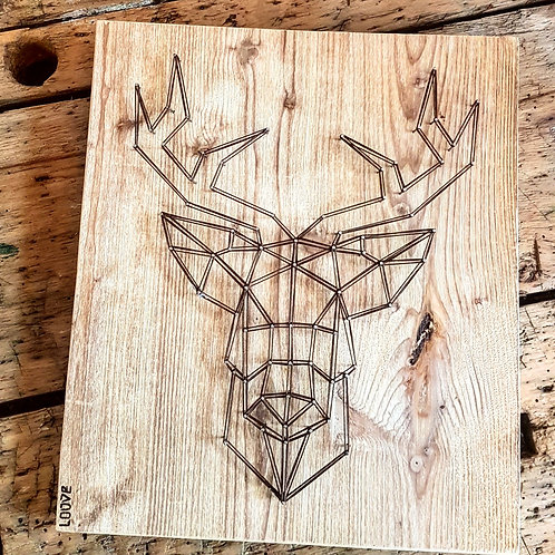 Cerf géométrique bois brossé