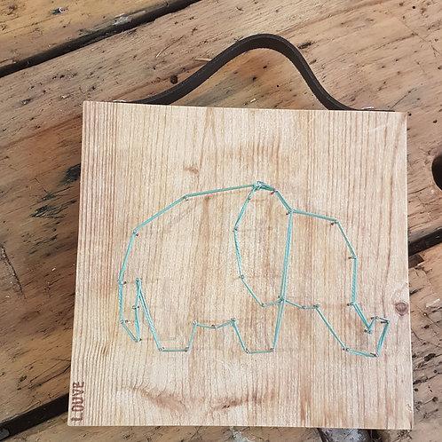 Éléphanteau vert d'eau et cuir