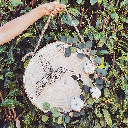 Rondin naturel colibri et coton format XL