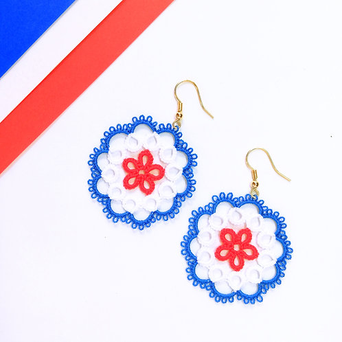 Circle tatting lace earring elegant jewelry