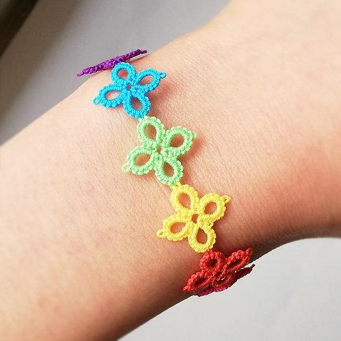 Tatting lace flower with handmade toggle clasp bracelet