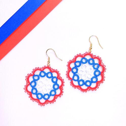 Circle tatting lace earring elegant jewelry