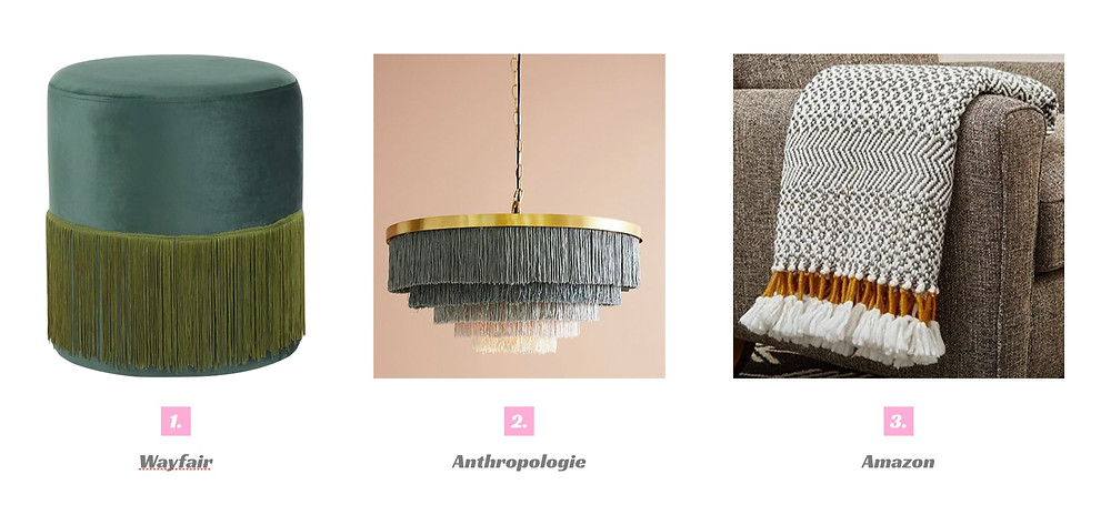 We are here for the fringe trend, and these are ways to bring fringe into your home through furniture, accessories, and lighting