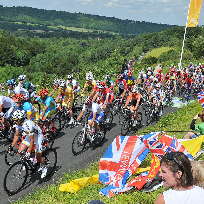 The moment the 2012 Olympic Cyclists first reached Box Hill - an exciting weekend and great to be a part of it all