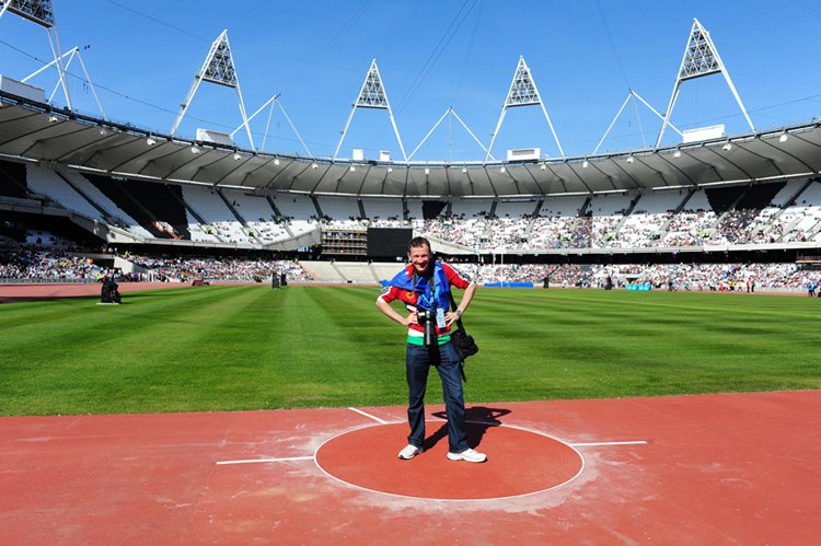 in early 2012 I got to explore the new Olympic Stadium in East London at a Charity test event - here I am on the shotput circle!