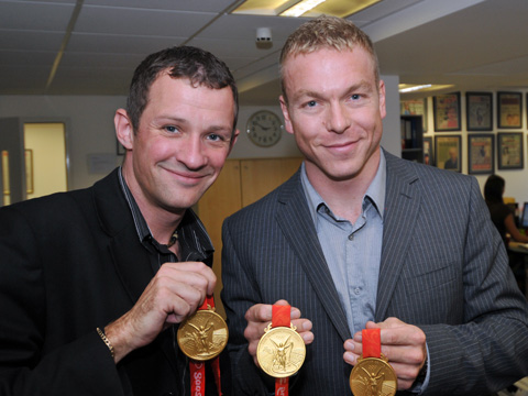 Chris Hoy had literally just arrived back from the 2008 Olympics with his three gold medals when I was asked to photograph him by his PR Team. A lovely guy and a British sporting legend