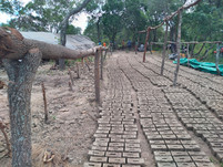 School bricks beings produced locally.