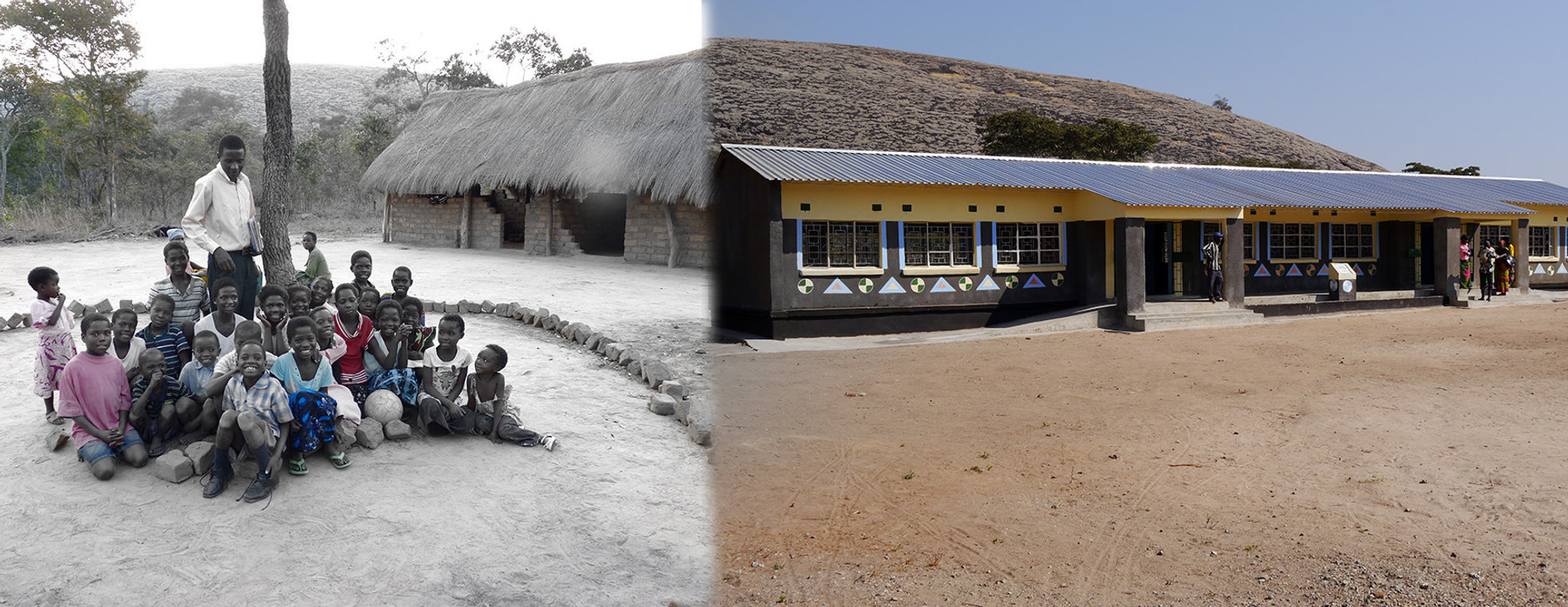 Chibanga School, before and after