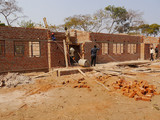 Classroom block being constructed.
