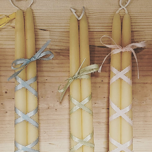 Beeswax Hand Dipped Candles 2 pc.