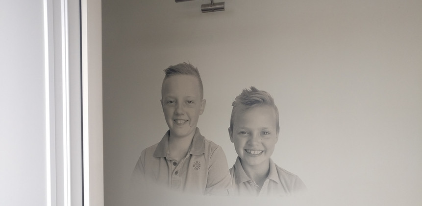 muurprint familie foto