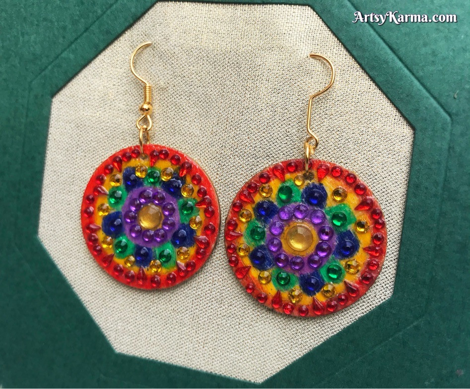 Make your own diamond painting mandala earrings