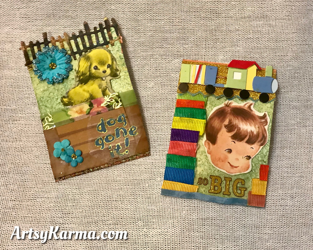 artist trading cards with texture background