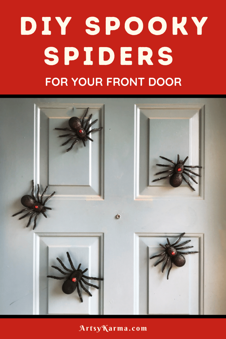 diy spooky spiders for your front door