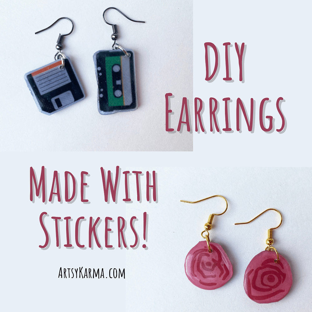 DIY earrings made with stickers.