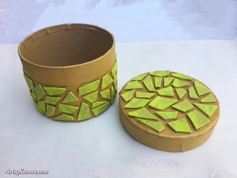 DIY Mosaic box tiled with craft foam