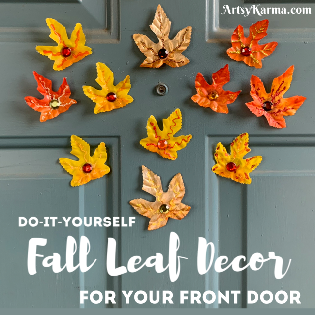Do it yourself fall leaves decor for your front door