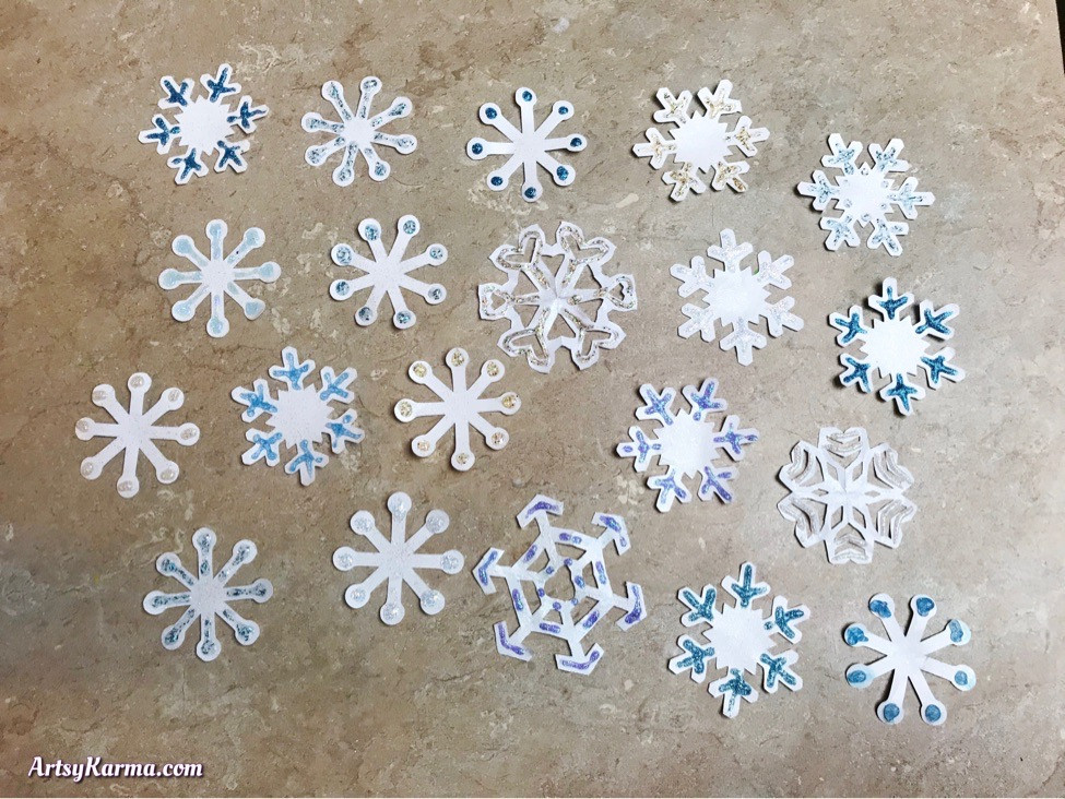 Glittered diy snowflakes