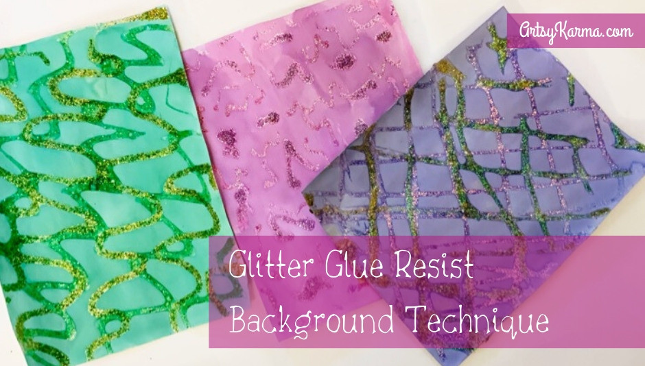 glitter glue resist background technique
