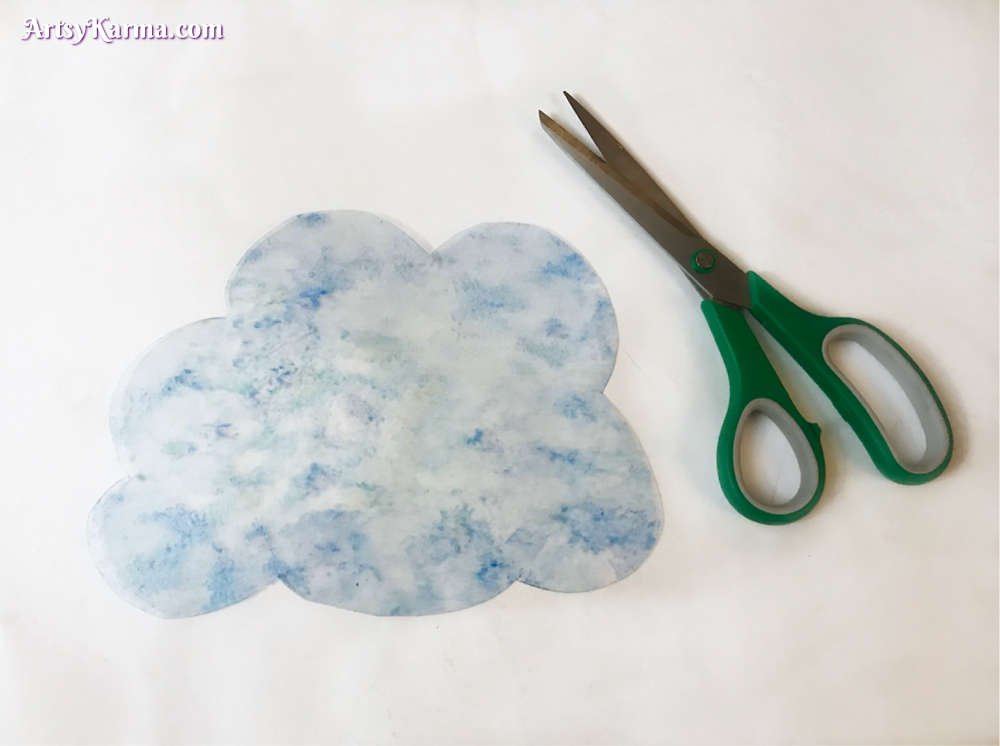 cut out cloud for a crystal rain cloud sun catcher