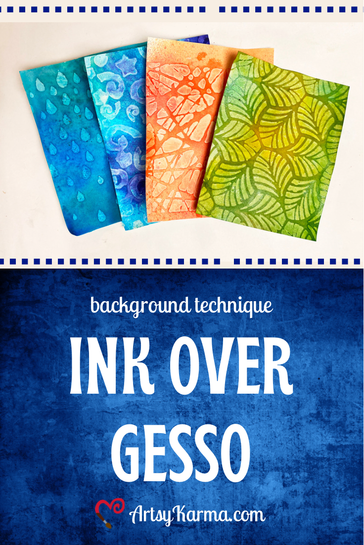 ink over gesso background technique