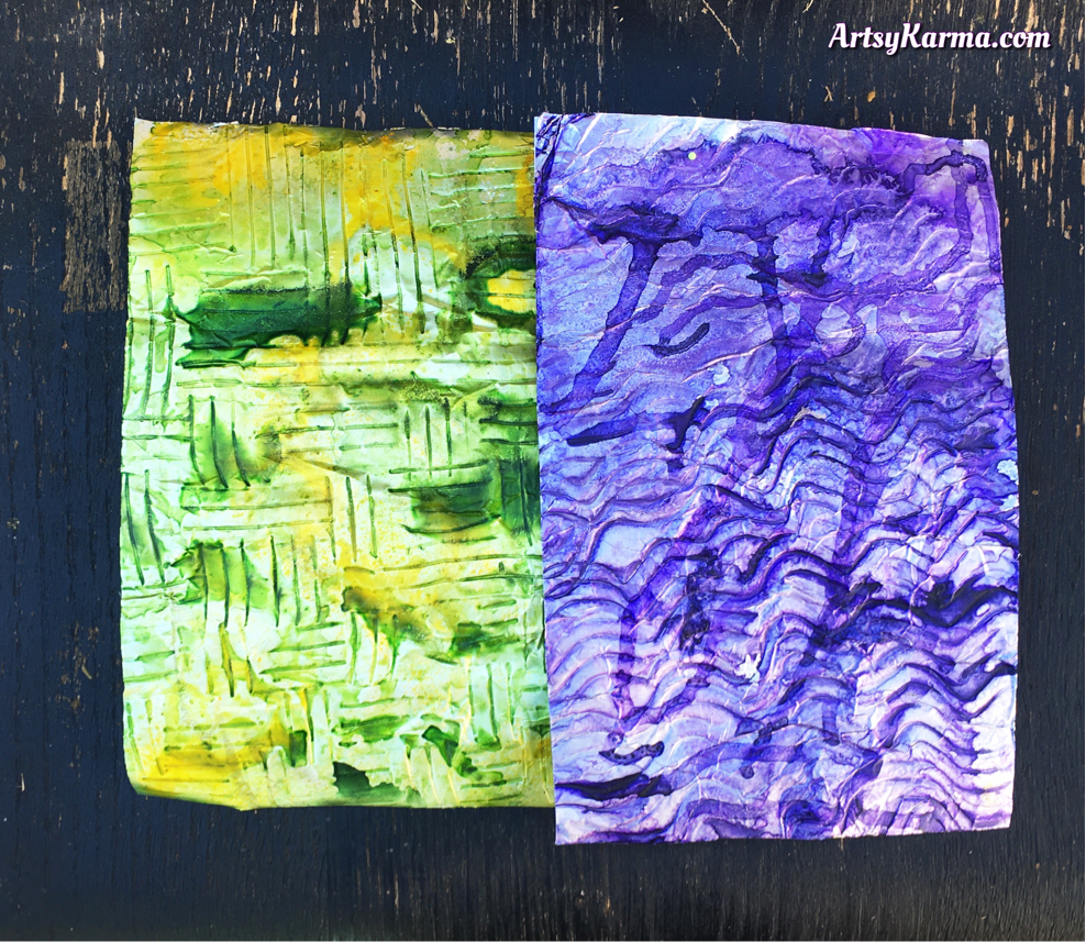 Two backgrounds using aluminum foil and ink