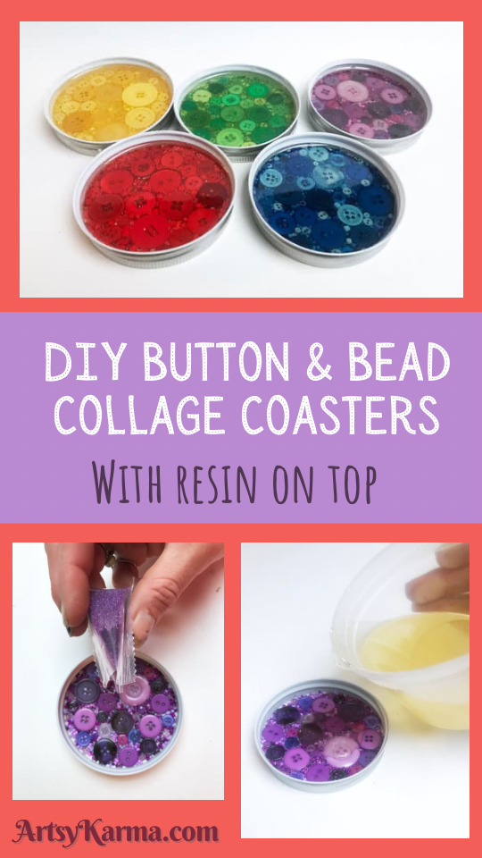 DIY button and bead collage coasters.